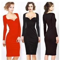 2014 New Spring Autumn Winter Women Elegant Long Sleeve V-Neck Evening Dresses Ladies Knee-Length Bodycon Party Pencil Dresses
