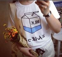 New 2014 Summer Korean Cute Clothing Milk  Printed Loose Tee Short Sleeve Casual Tee Tops girl t shirt women Free Shipping 630