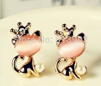 2014 Fashion new arrival Opals set auger the kitten crown pearl earrings 3pcs/lot