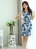 Free shipping Cotton Fabric summer dress OL temperament sleeveless Stretch printed dress plus size For Women Fashion Wear