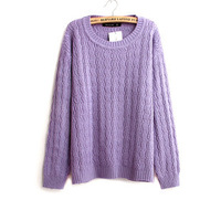 2014 Autumn Winter Fashion Women Candy Sweater Round Collar Long Sleeve Women Kniwear Twistbraid knit Pullover Sweater 3 Colors