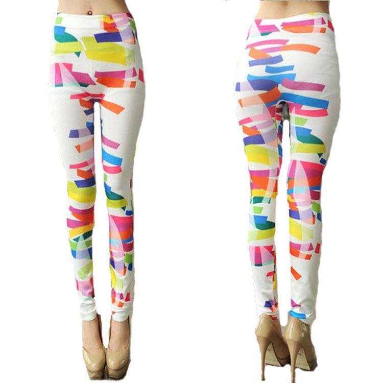 2014 Seamless spring new Korean fashion personality color printing painted graffiti was thi Leggings ZHAO(China (Mainland))