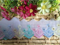 2014 NEW ARRIVAL 300yards/lot,4.5cm   flower Embroidery Lace tape trim for hair bow ornaments DIY garment accessory