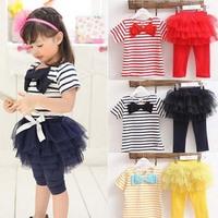 Kid Girl Stripe Bow Top T-shirt + Tutu Skirt Leggings Culottes 2pcs Outfit Sets 2-7Y Free Shipping