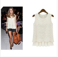 New 2014 fashion women's chiffon shirt O-neck lace short blouse