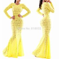 New fashion summer Sexy dress 2014 hot models perspective sexy maxi lace yellow swallowtail stunning Bandage Bodycon dress