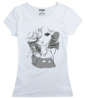 he new summer short sleeved female T-shirt cute cartoon stamp self elastic cotton shirt