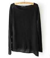 2014 European New Design Irregular Women Fashion With The Lining Wool Sweater Round Collar Comfortable Women Kniwear 4 Colors