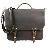 briefcase men one houlder laptop bags vintage messenger bag cowhide genuine Crazy horse leather