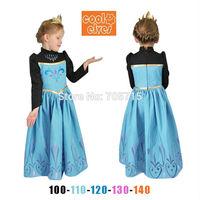 Retail Free shipping 2014 Autumn New Arrival for girls frozen anna costume dress,princess dress,cosplay dress