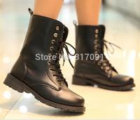 Vintage European Style women ankle boots fasfhion women lace-up boots.Black punk style 2014 hot
