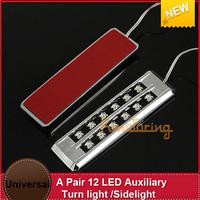 FREE SHIP 2x  Amber Super bright Signal Bulb LED Car Turn light Lamp Sidelight  12pcs* piranha LED each panel