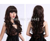 High Quality Free shipping Women Sweet Cute Long Shinny Fluffy corn hot Wigs High Temperament Wire Long wigs 70cm Free Shipping