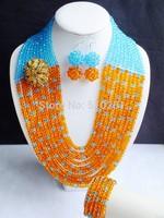 Free ship! Beauty Women Orange and Blue Crystal beads jewelry set LK-2372