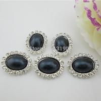 (FL267)Sparkling Black Pearl Oval Diamond Rhinestone Button Shank For Wedding Invitation Card