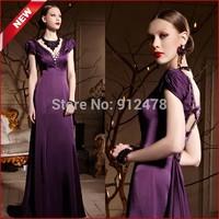 2014 New Purple Elegant Backless Short Sleeves Long Woman Evening Dresses High Low V-neck Cross Bandage Formal Prom Dress 30652