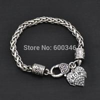 Top sale fashoin made mom heart crystal charms bracelets for mom gift bracelets