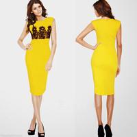 2014 New Summer Women Elegant Sleeveless O-neck Evening Dresses Yellow Cotton Blend Knee-Length Pencil Dresses CD1385