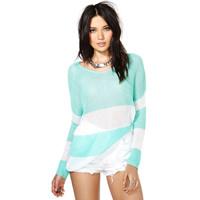 Popular mint green white stripe splicing sweaters, women's round neck long sleeve sweater