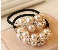 2piece, high quality Hand chain beaded hair band Pearl hair bands  bracelet  hair accessories Elastic Hair Bands  free shipping.