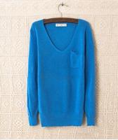 2014 New Design Autumn Winter Fashion Korean Pocket Slim Women Sweater V-Neck Long Sleeve Women's Kniwear 14 Colors
