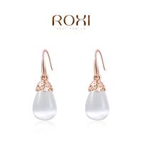 Hot sale women ROXI Gift Classic Genuine Austrian Crystals Fashion Red/ Green Zircon Water Drop Earrings Hot Sale
