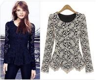 Woman's 2014  fashion long sleeve round Neck Lace T-shirt WO1222