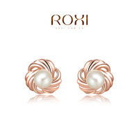 ROXI 2014 New Fashion Jewelry Rose Gold Plated Statement Circle Pearl Stud Earrings For Women Party Wedding Free Shipping