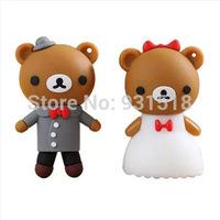 wedding bear usb Flash Drive  8GB full capacity bride & groom usb drives wedding gift USB disk   28pcs/lot