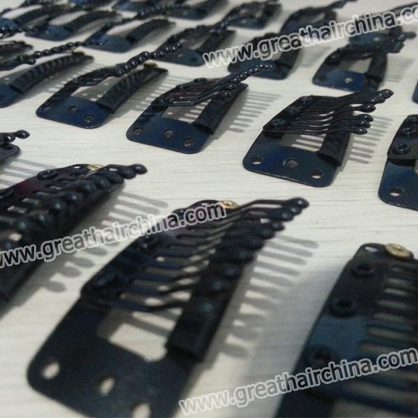 10 Teeth Metal Snap Clip for Hair Extensions/ Wig/ Toupee, Hair Extension Tools Color Black Snap Clips,100pcs/ Lot Free Shipping(China (Mainland))