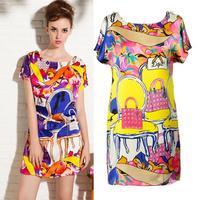 Fashion New Trend  New Arrival European style Plus Size Women Chiffon Dress Loose Batwing Sleeve printing Zipper Dress 8928