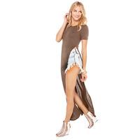 Fashion Ultra Long Placketing O-neck Knitted Female Short-sleeve Maxi T-shirt Floor Length Side Split Sexy T Shirt Dropshipping