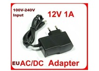 Best Selling AC 100-240V to DC 12V 1A 5.5x2.1mm EU Power Adapter Supply EU Plug Free Shipping