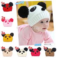 Cute Cartoon Animal Bear Panda Cutton Boys and Girls Hat Children Kids Baby Cap for Winter free shipping MZ1019