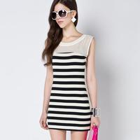 2014 Summer New Arrival Fashion Silm Women Chiffon Dress Striped Splice O-Neck Package Hip Sleeveless Thin Mid Pencil Dress 9013