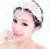 Bridal hair accessories lace flower head flower bridal headdress Korean sweet short hair wedding hair accessories Crystal