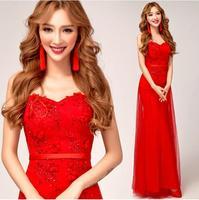 Fashionable Flower Red Lace Long evening dress vestido de festa curto formal dresses prom dresses 2014 party dresses gown E64