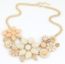 Bohemian jewelry strass cameo flower layered necklace women/k pop collier women fashion 2014/collar/bijoux femmes/kolye/jewerly