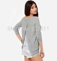 Free Shipping 2014 New Autumn Fashion Women Sweater Lace Lining Cross Split Back Grey Plus Size Long Sleeve  Sweaters 141M012