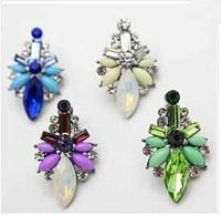 2014 New korean earring fashion women crystal stud earrings colorful full gem Gold Plated women jewelry vintage earrings