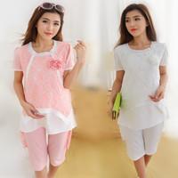 6102 Fashion Lace/Chiffon Maternity Sleepwear Set Two-Piece Summer Elegant Pregnant Pajamas Clothes For Pregnant Women Suits