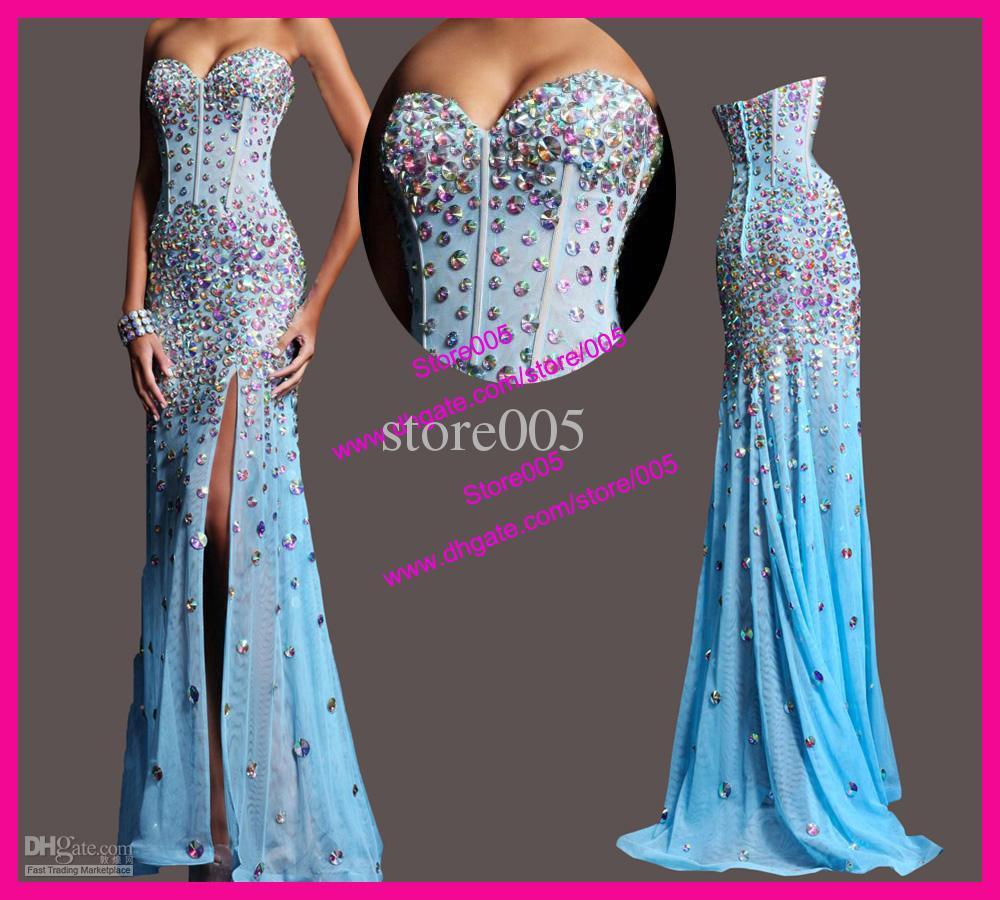 2015 Luxo diamantes coloridos Strapless Sheer Vestidos Mermaid Prom Pageant(China (Mainland))