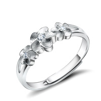 GNJ0574 Free Shipping 925 Sterling Silver Rings Alice & Flower Ring US Size 6.25 Resizbale Ring For woman Wedding Fahion Jewelry