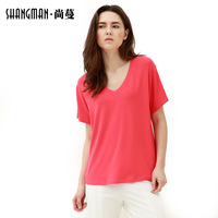 Hot sale summer V-neck short sleeve solid good breathability women causal and loose plus size T-shirts,Free china post shipping