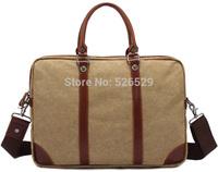 Free Shipping men male canvas leather briefcase casual vintage belt designer bag big large capacity shoulder messenger tote bags