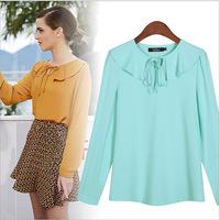 [Promotion] fashion brand spring women blouses ladies 6 colors casual shirts female long sleeve chiffon ruffled shirt (D029-B)