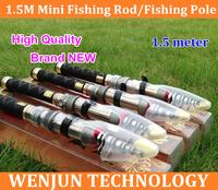 4PCS NEW 1.5m carton mini fishing poles High Quality fishing rods carbon fiber spinning rods telecopic portable Sea carp rods