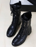 freeshipping women's  leather boots black with fur inside snowboots plus size boots 40 round toe motorcycle boots