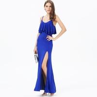 Blue Wedding dress Spaghetti Strap Ruffle Women's Full Length Dress