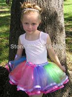2014 Baby Girl Rainbow Tutu Skirts Hot Selling Pettiskirt Tutu Skirts With Ribbon Trimmed Double Ribbon Edged Skirts